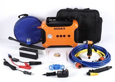 12V Portable Pressure Car Washer Jet Pump W/ LED&Nozzle Gun&Rechargeable Battery