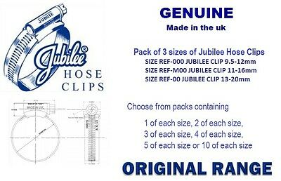Genuine Jubilee Hose Clamps, Worm Drive Fuel Hose Clips, Small Packs 3 sizes,