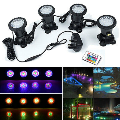 36 LED Underwater Spot Light RGB Aquarium Pond Fish Tank Waterproof Lighting