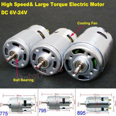 DC 6V 12V 18V 24V RS-775/795/895 Motor High Speed Large Torque Dual Ball Bearing