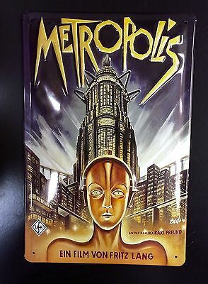 Metropolis Classic Movie & 3D Embossed Metal Poster Sign Wall Decor 20x30 Cm
