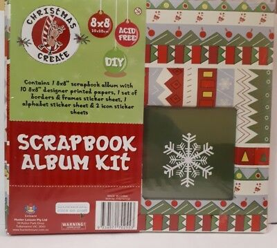 "8X8""Christmas Create Scrapbook Album 10 Pages,10 Inserts, 10 Print Papers Etc.."