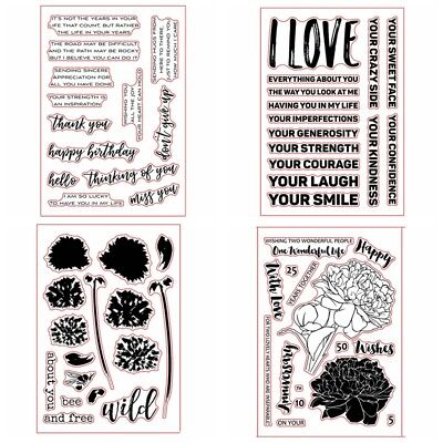 4 Types Transparent Silicone Clear Rubber Stamp Sheet Cling Scrapbooking DIY