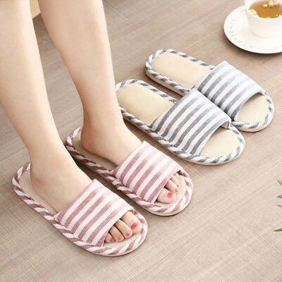 Men Women Open Toe Striped Flax Slippers Anti-slip Couple Home Shoes Intriguing