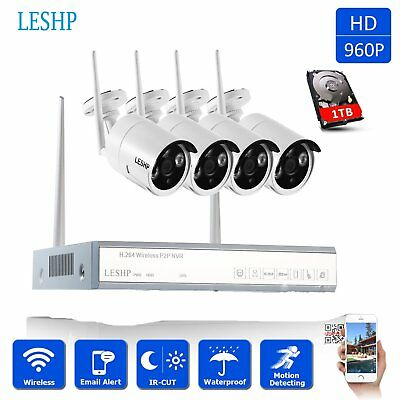 HD 960P Video Wireless Kit 4CH NVR WIFI 4x Security IP Camera System Outdoor 1TB
