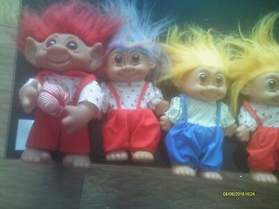 4 large trolls one has 1977 on back and made in denmark