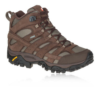 Merrell Mens Moab 2 Smooth Mid GORE-TEX Walking Shoes Brown Sports Trainers