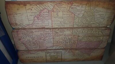 Large Wooden Vintage Map of Australia Artwork