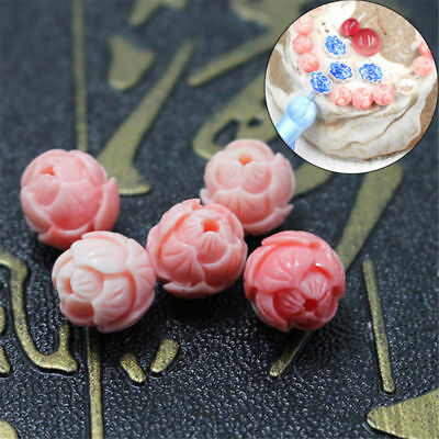 5/20pcs 10mm Pink Shell Carved Round Lotus Flower Loose Beads Gemstone Jewelry