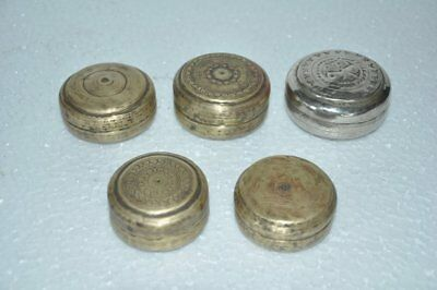 5 Pc Old Brass Small Engraved Handcrafted Powder / Pill Box