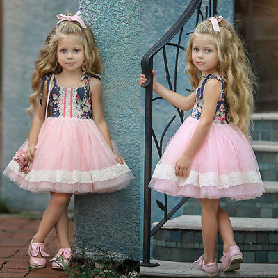 AU Toddler Kids Baby Girls Floral Pageant Party Bridesmaid Formal Dress Clothes