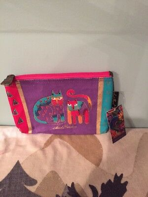 Laurel Burch Whimsical Cats  Zippered Accessory Makeup Canvas Pouch NWT