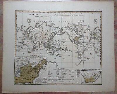 World Map Dated 1846 By Justus Perthes Large Antique Engraved Map