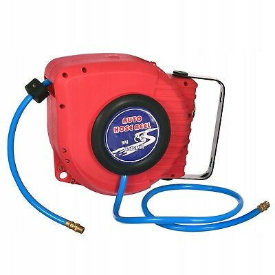 Air Hose Reel with Retractable 10m Hose 8mm ID Mountable Swivel Bracket