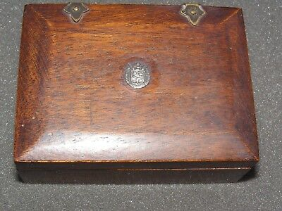 Antique Wooden Box with Crest dated 1908 Coat of arms