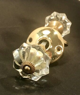 Set of Antique Round 8 point Faceted Glass & Brass Ball Door Knobs with Shank