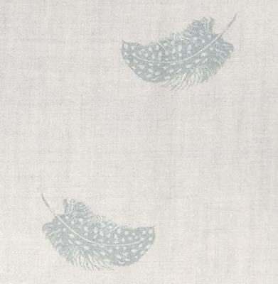 Peony and Sage - Falling Feathers - Duck Egg on Cream Linen - Fabric 152cmX48cm