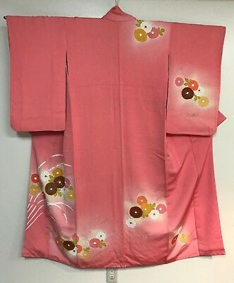 "Vintage Pink Kimono ""Kofurisode"" Decorated with Chrysanthemum Patterns  #017"