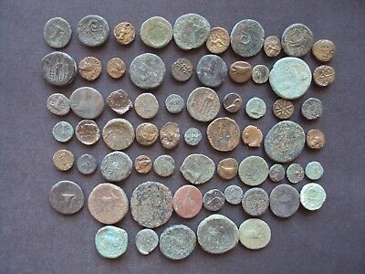 Ancient Greek Lot Of 65 Greek Bronze Coins To Identify Excellent Lot(2173)