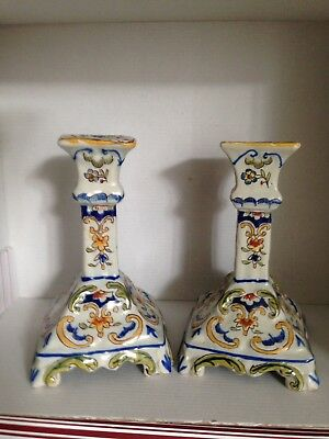 Pair of Rouen Style French Pottery Candle Sticks