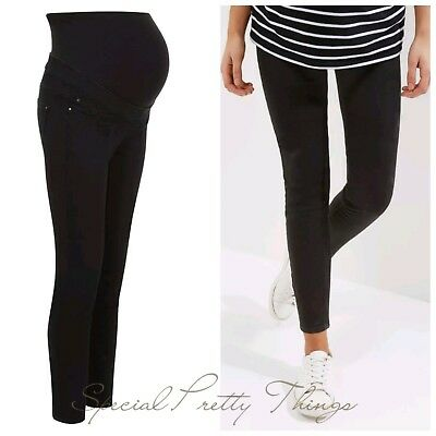 """Maternity Jeans Black New Look Over Bump Jeggings Jeans Sizes 8 - 18 Leg 28"""""""