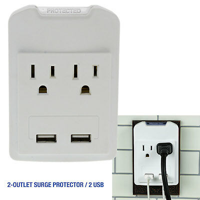White 2 Outlet 2 USB Dual Wall Tap Mount Surge Protector, 1 or 2 Pack