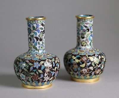 Late 18th Early 19th Century Pair of Chinese Cloisonne Bottle Vases