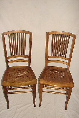 Antique Vintage Wood and Cane Chair (Set of 2) Damaged