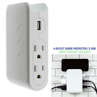 White 4 Outlet 2 USB Wall Mount Side Tap Surge Protector, Cell Phone Dock Design