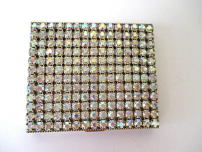 Vintage 1950's Compact Styled by Schildkraut 180 Rhinestones Gold Tone