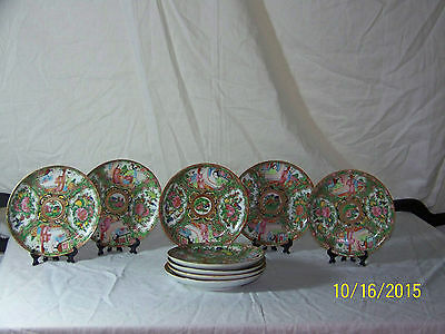 Antique Chinese Hand Painted Rose Medallion Set of 9 Dish's