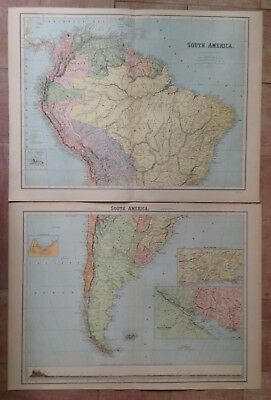 SOUTH AMERICA XIXe CENTURY by PETERMANN VERY LARGE ANTIQUE MAP IN 2 PARTS