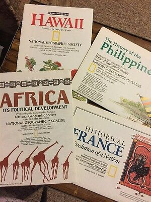 National Geographic Maps/Inserts Rediscovering Hawaii Philippines France Africa