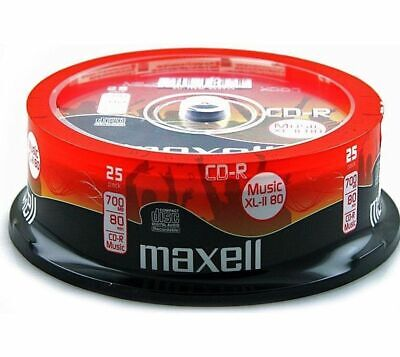 25 x Maxell CD-R 80 Mins XL-II Audio Recordable CDs In Spindle With Sleeves