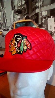 Mitchell & Ness Chicago Blackhawks quilt Red rare Snapback Cap USA IMPORTED