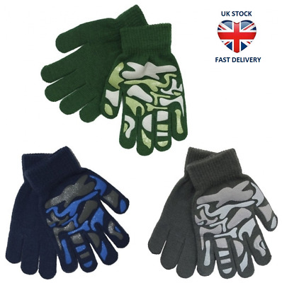 KIDS THERMAL GRIPPER GLOVES CAMOUFLAGE 3 Colours WARM MAGIC STRETCH Ages 3 - 11
