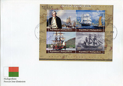 Madagascar 2018 FDC Captain James Cook Endeavour 4v M/S Cover Boats Ships Stamps