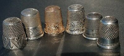 Lot of 6 Antique Sterling Silver Sewing Thimbles .925 and Gold Filled