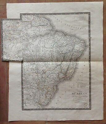 BRAZIL DATED 1826 BY BRUE XIXe CENTURY VERY LARGE DETAILED ANTIQUE ENGRAVED MAP