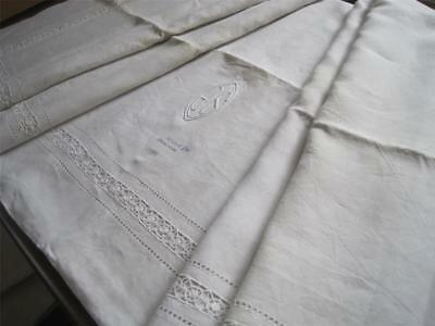 Glorious Unused Xl French Pure Linen Sheet, Superb Bedding Fabric Or Curtain