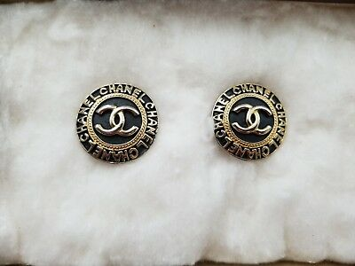 Vintage Coco Chanel Clip On Earrings Black And Gold