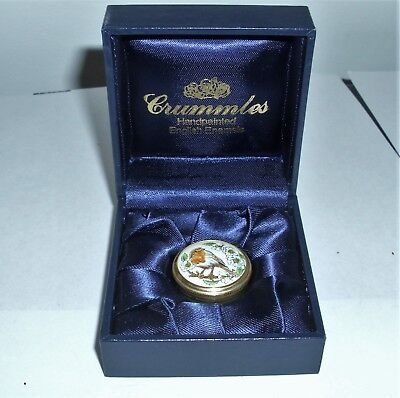 Crummles Enamel Pill Box with Robin on Lid