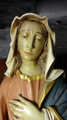 Large Vintage Hand Carved Wooden Our Lady Virgin Mary Of Sorrows & Jesus Statue