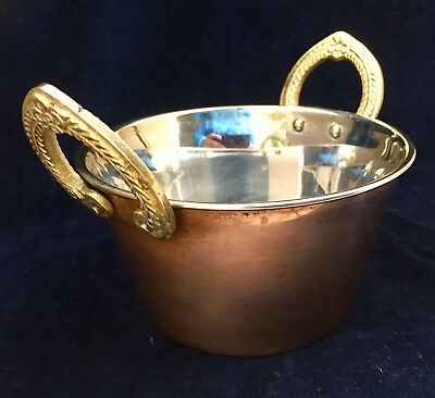 Vintage Heavy Copper Pot, Stainless Steel, w/ Ornate Brass Handles