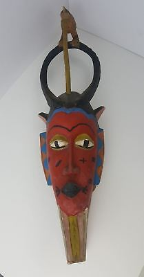"Vintage African Mexican Tribal Wood Animal Mask w/ Teeth WALL Hanging 7"" x 25"""