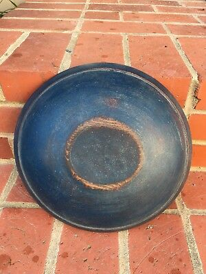 Old  Small Wood Dough Butter Bowl Old  Blue Over Red Paint