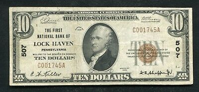 1929 $10 The First National Bank Of Lock Haven, Pa National Currency Ch. #507