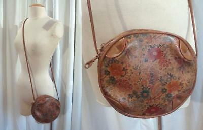 VTG 80s Caramel WILDFLOWER Faux Leather OVAL 1980s Round CROSS BODY PURSE Bag