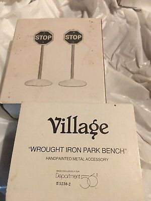 Misc Dept 56 Accesories Stop Signs & City Bench