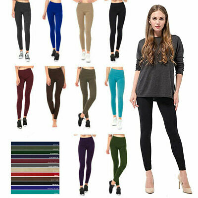 f35f717f7f055 Womens Fleece Lined Leggings Warm Winter Thick Solid Colors Regular   Plus  Size